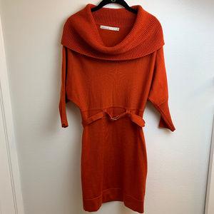 Karen Millen Cowl Neck Rust Knit Dress.Sz 3 (L)